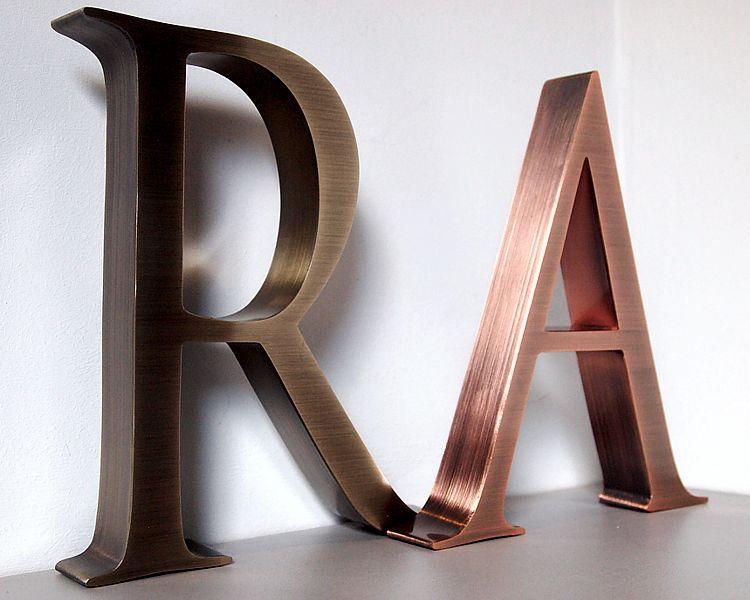 litery ze stali nierdzewnej miedzi mosiądzu